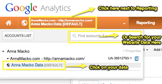Search for your data in Google Analytics