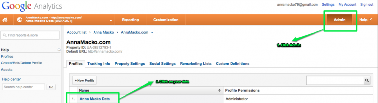Click On Admin In Analytics